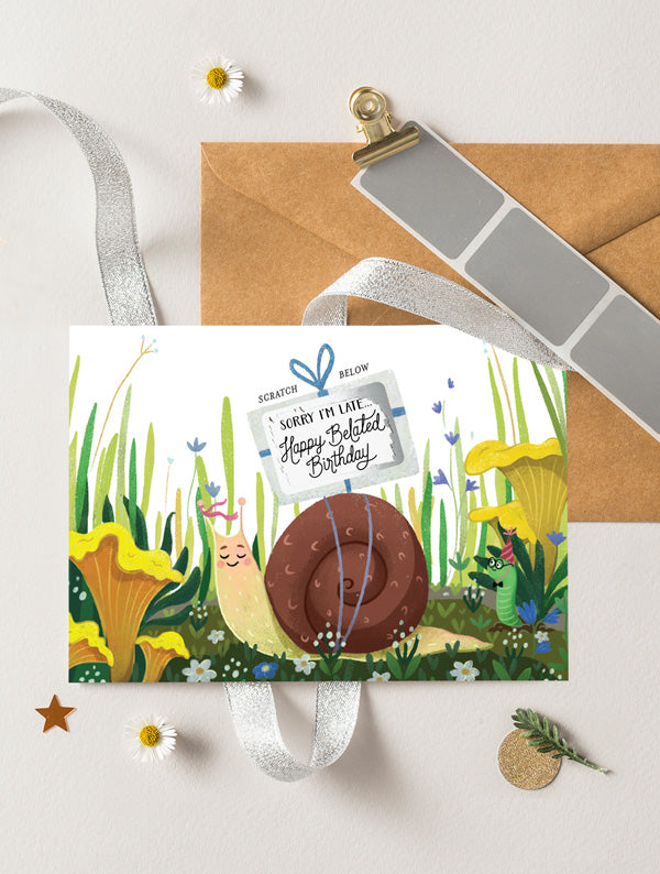 Snail Belated Birthday Card