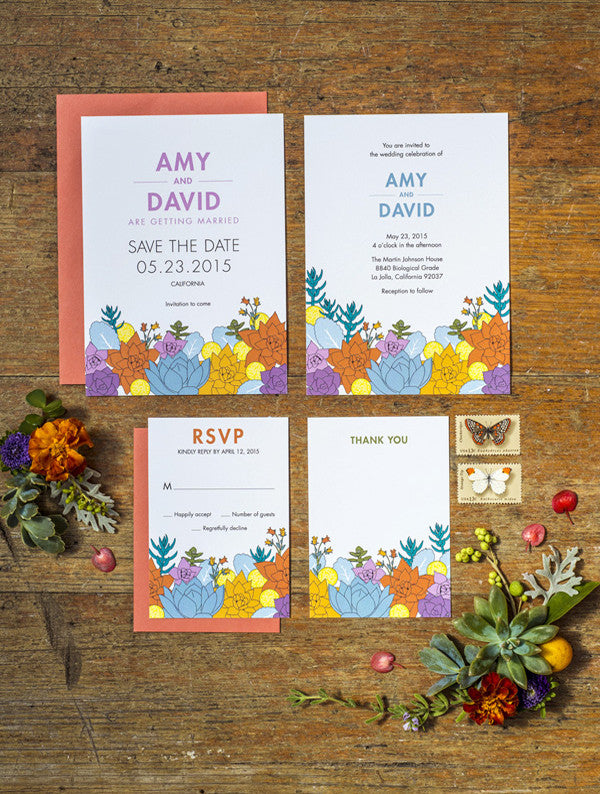 Succulent Modern Wedding Set