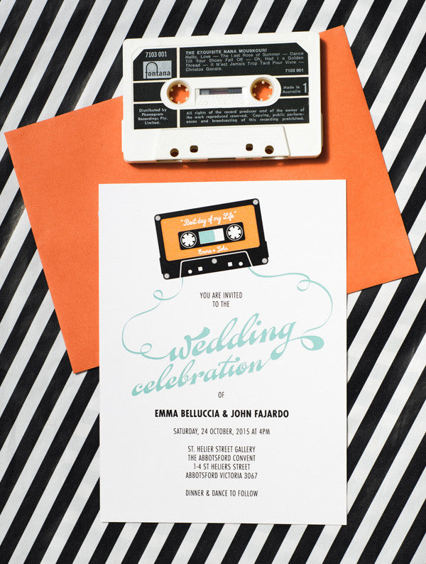 Cassette Tape Wedding Invitation