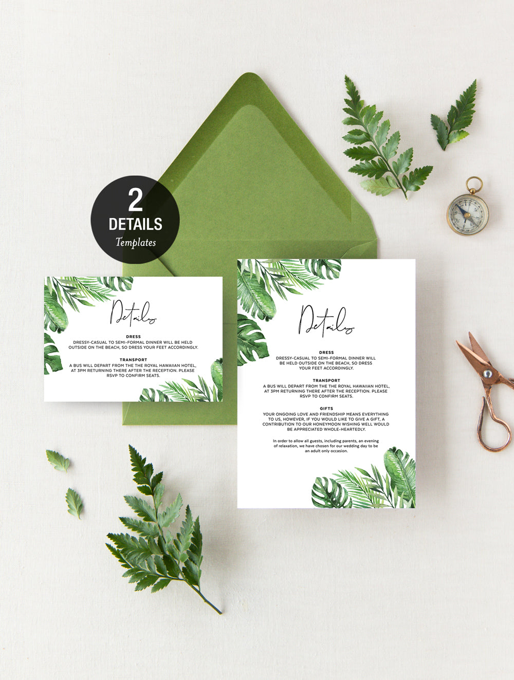 Geometric Tropical Wedding Invitation Set #TROP03