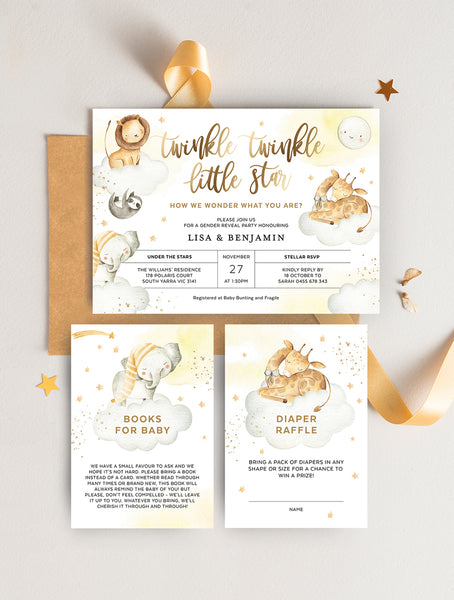 Twinkle Twinkle Little Star Safari Animals Baby Shower Invitation 3P TWINK01