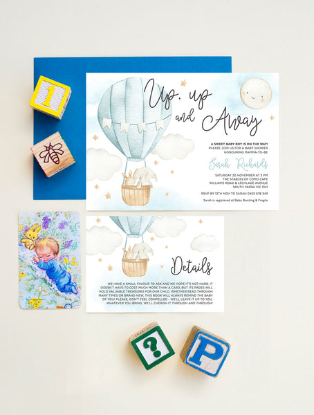 Up And Away Hot Air Balloon Baby Shower Invitation 2P Blue