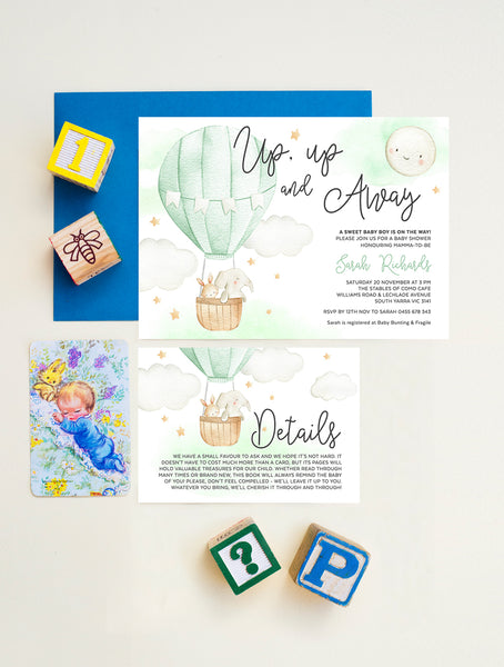 Up And Away Hot Air Balloon Baby Shower Invitation 2P Green