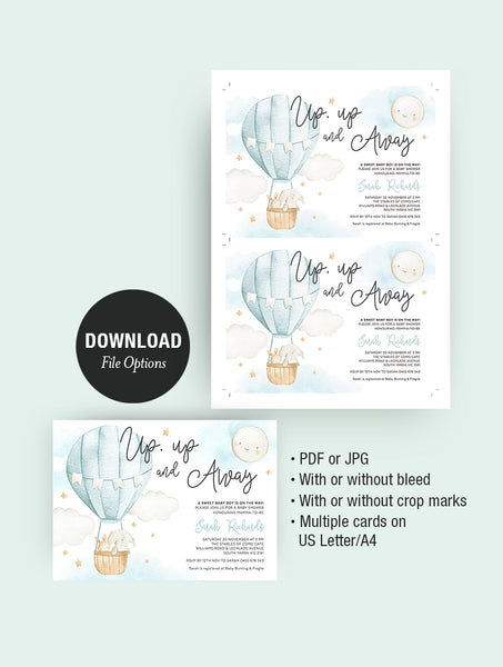 Up And Away Hot Air Balloon Baby Shower Invitation 3P Blue