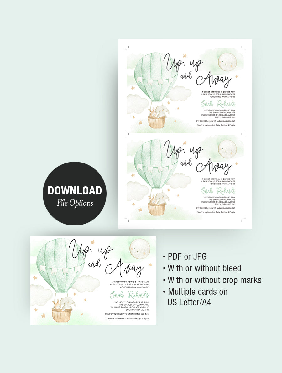 Up up And Away Hot Air Balloon Baby Shower Invitation 3P Green