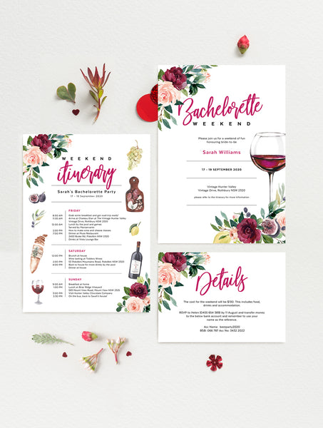 Wine Bachelorette Weekend Invitation