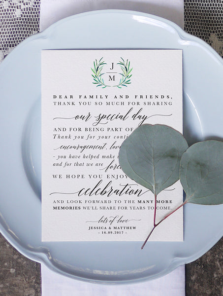 Table Thank You Note