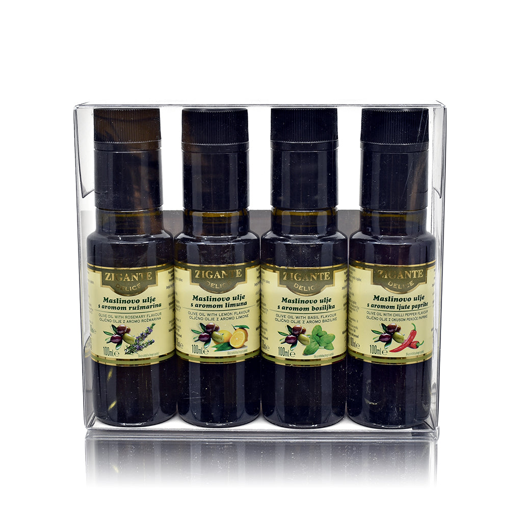 Zigante Delice Collection of flavoured olive oils Gift box 4x100ml - Zigante Tartufi Online Shop, Truffle Shop, Truffle Products