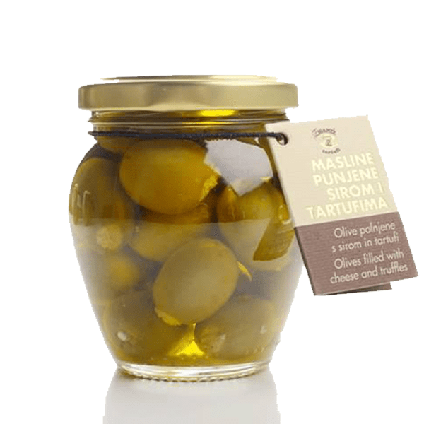 Olives filled with cheese and truffles
