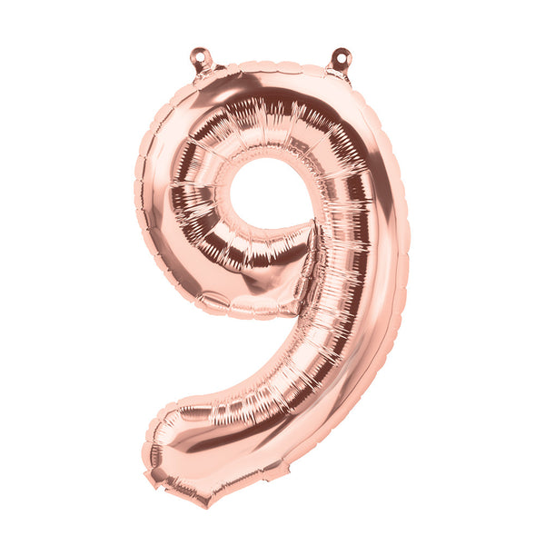 number 9 - foil balloon - rose gold