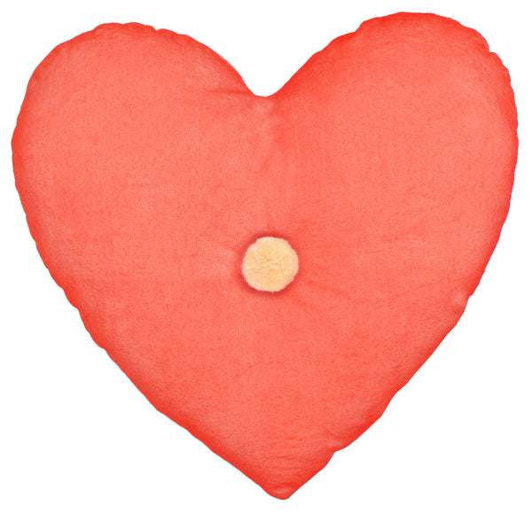 velvet heart cushion - coral
