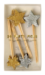 gold & silver glitter party picks