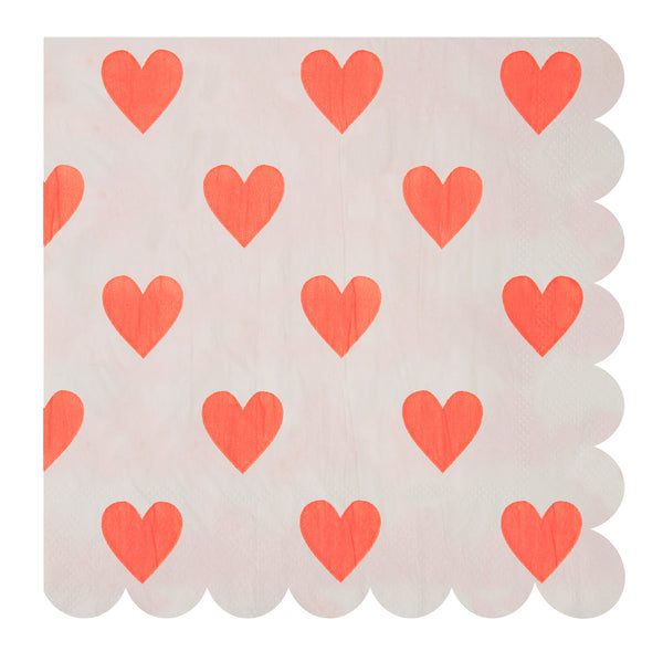 20 neon pink heart napkins - large
