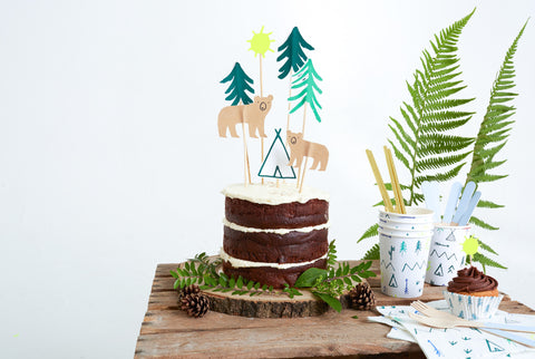 'let's explore' cake toppers