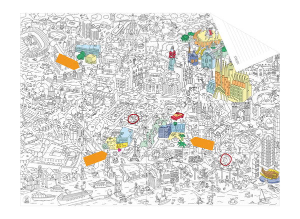 coloring pocket map CITY - Barcelona
