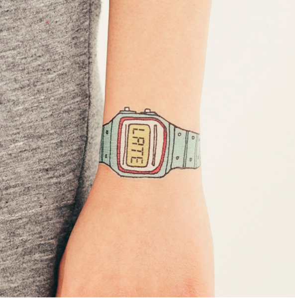 tattoo 'you're late' watch (turquoise)