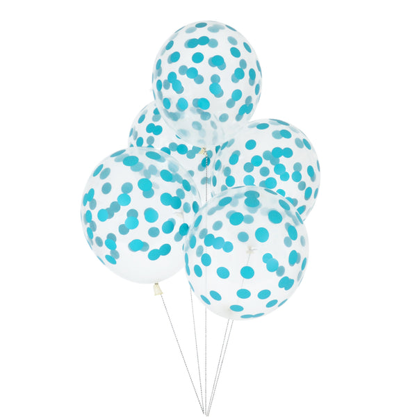 5 printed confetti balloons - blue