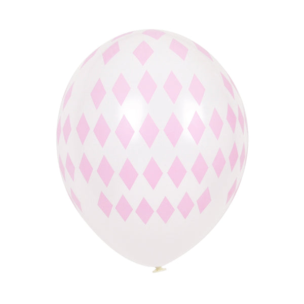 5 diamond printed balloons - pink