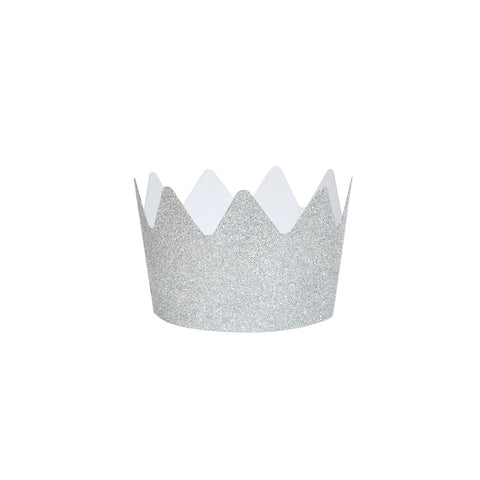 8 silver glitter crowns