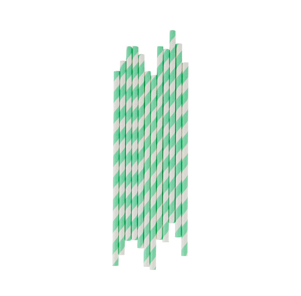 25 pale green and white striped paper straws