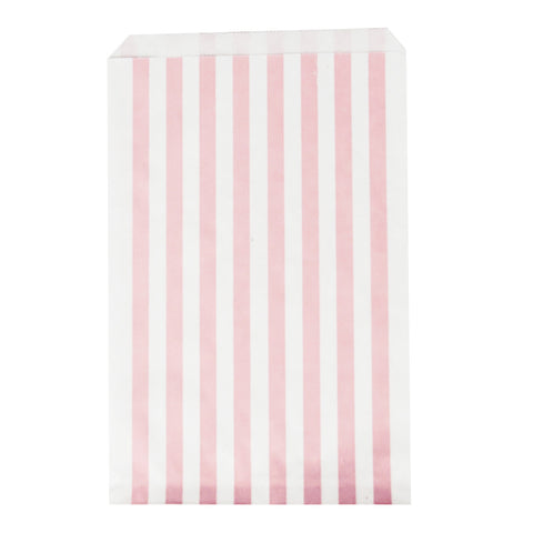 10 pink stripes paper bags