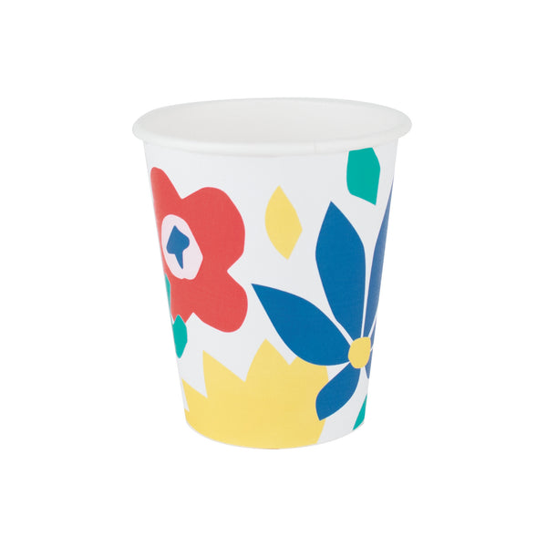 8 tropical flowers paper cups