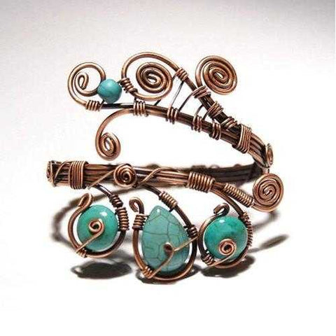 Handmade Wire Wrapped Turquoise Cuff Bracelet - Zymotic
