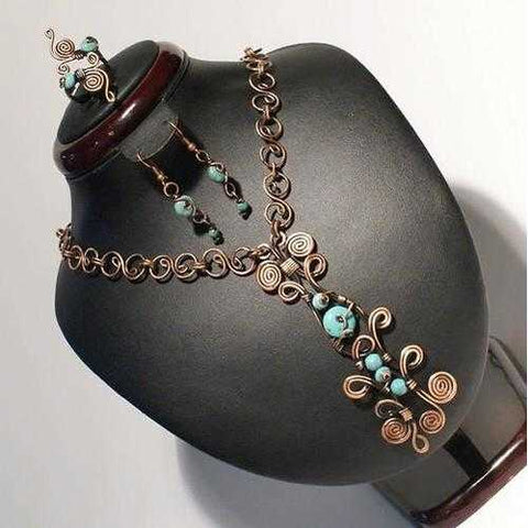 Handmade Wire Wrapped Turquoise Jewelry Set - Zymotic