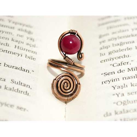 Handmade Jade Stone Copper Wire Wrapped Ring - Zymotic