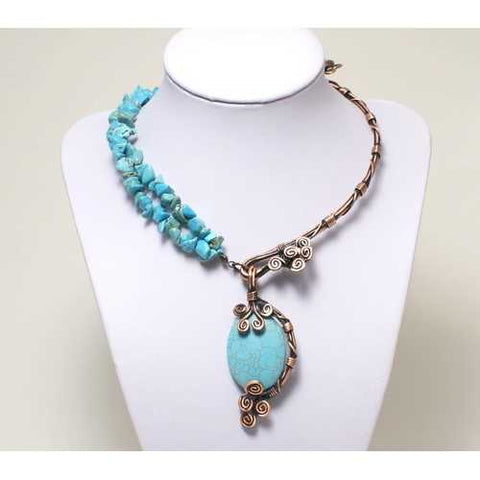Handmade Turquoise Wire Wrapped Necklace - Zymotic