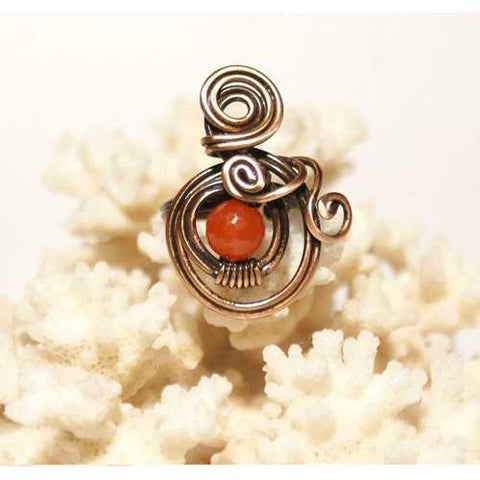 Handmade Copper Wire Sunstone Ring - Zymotic