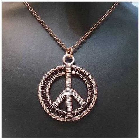 Handmade Copper Peace Sign Pendant Necklace - Zymotic