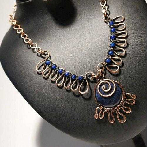 Handmade Antiqued Copper Lapis Lazuli Necklace - Zymotic