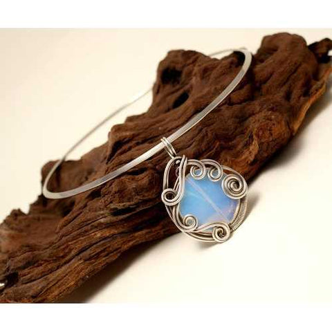 Handmade Wire Wrapped Moonstone Pendant Necklace - Zymotic