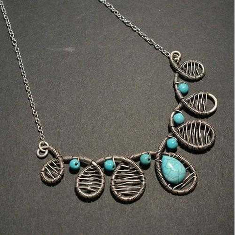 Handmade Wire Wrap Turquoise Statement Necklace - Zymotic