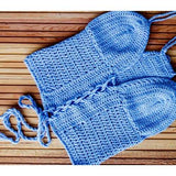 Handmade Periwinkle Blue Halter Top, Gypsy Crochet Top - Zymotic