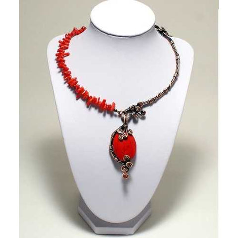 Handmade Wire Wrapped Red Necklace - Zymotic