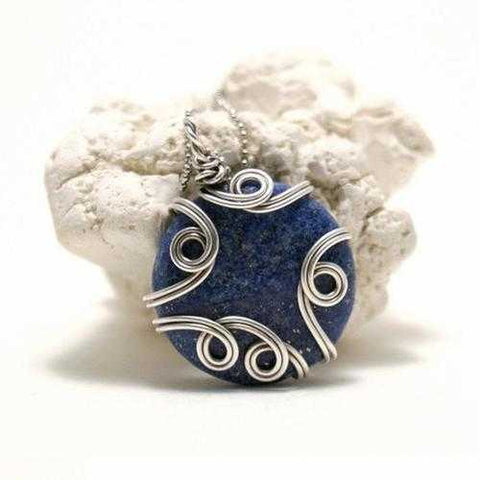 Handmade Wire Wrapped Lapis Lazuli Pendant Necklace - Zymotic
