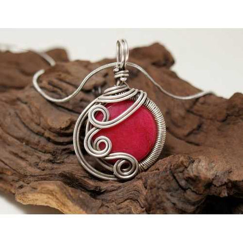 Handmade Wire Wrap Ruby Pendant Necklace - Zymotic