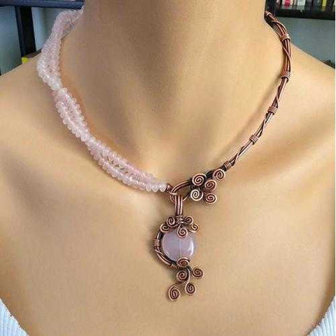 Handmade Rose Quartz Copper 7th anniversary Necklace - Zymotic