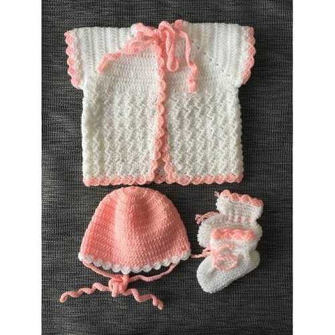 Handmade Baby Cardigan Knit Hat & Booties - Zymotic