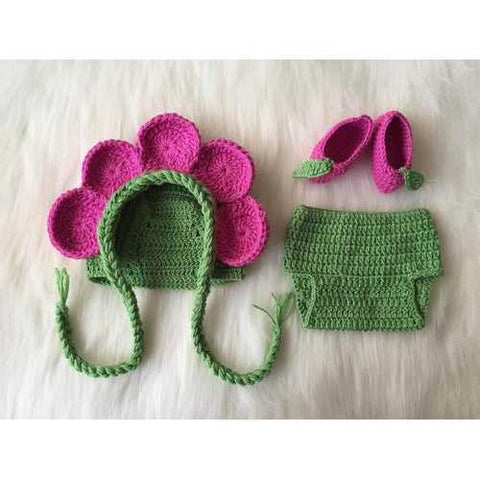 Handmade Flower Fairy Baby Hat Diaper Booties - Zymotic