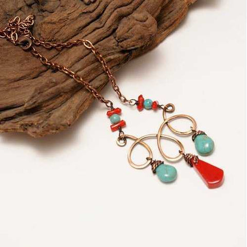 Handmade Turquoise and Red Statement Necklace - Zymotic