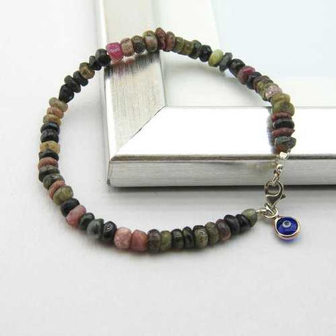 Handmade Tourmaline Evil Eye Charm Stacking Bracelet - Zymotic