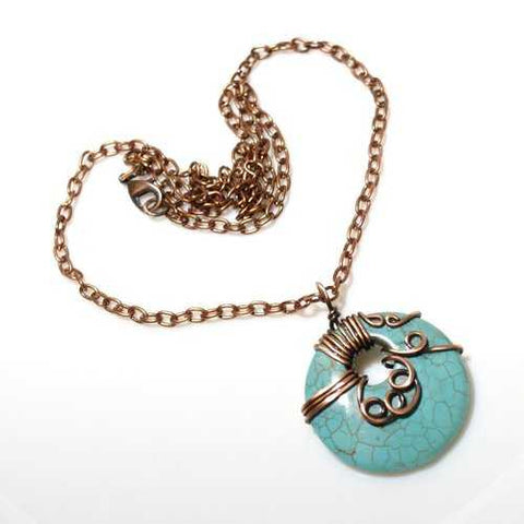 Handmade Wire Wrap Turquoise Pendant Necklace - Zymotic