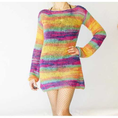 Handmade Angora Sweater Dress Rainbow Sweater Tunic - Zymotic