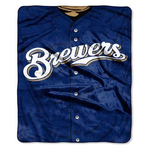 Milwaukee Brewers Blanket 50x60 Raschel Jersey Design - Zymotic