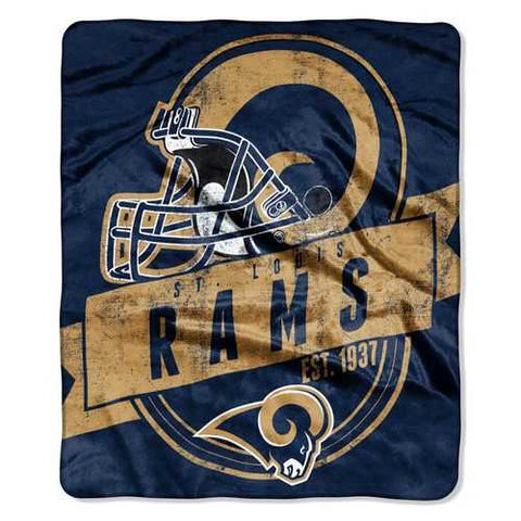 Los Angeles Rams Blanket 50x60 Raschel Grandstand Design St. Louis Throwback - Zymotic