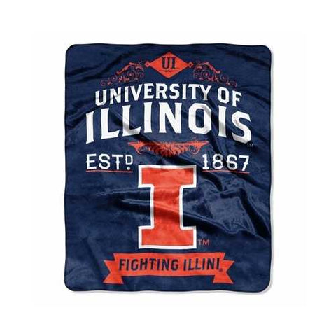 Illinois Fighting Illini Blanket 50x60 Raschel Label Design - Zymotic