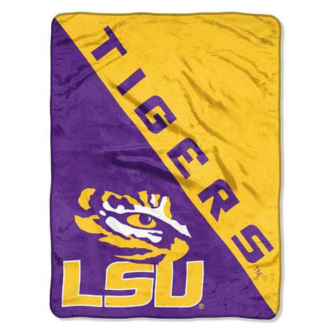 LSU Tigers Blanket 46x60 Micro Raschel Halftone Design Rolled Special Order - Zymotic